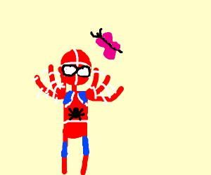 Spiderman wants butterfly to go away