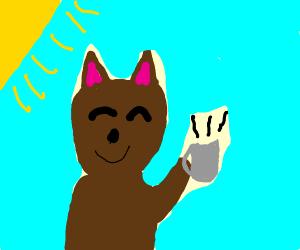 Fox enjoys having tea