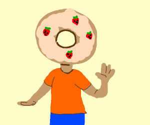 donut-shaped head with strawberries