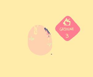 Egg scratched with gasoline and asphalt