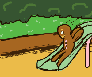 Gingerbread man on a slide