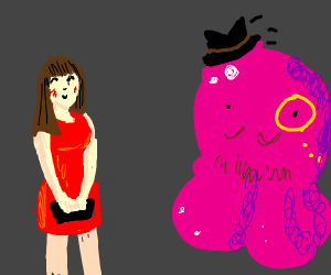 Pink blob is a gentleman. Tips hat to lady.