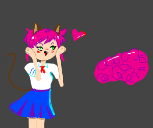anime cat girl falls in love with brain
