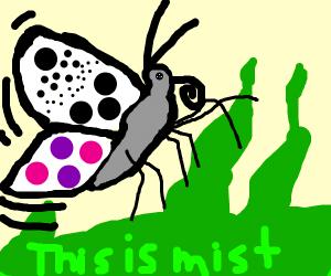 butterfly flies away from green mist