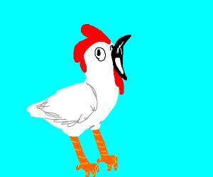 Chicken with a black beak