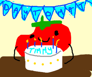 little Timmy the deformed tomato's Bday