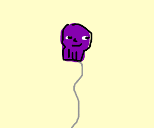 Man chasing Thanos balloon
