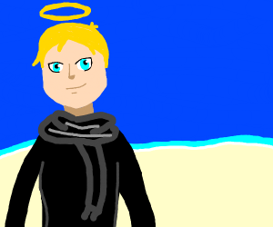 Some kinda anime guy w/a halo at the beach