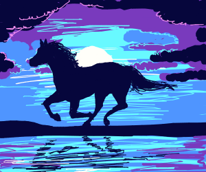 Unicorn Running at Sunset