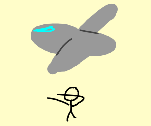 a plane that is flying over a man he is dabin