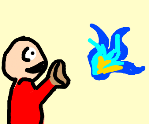 Man catches blue fire