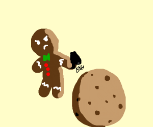 Gingerbread ban shoots his cousin, a cookie