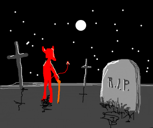 devil holding red cane on graveyard