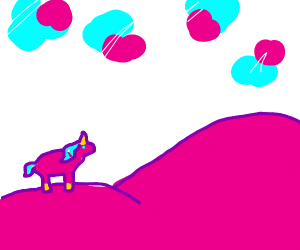 Pink unicorn, pink hill, cotton candy clouds