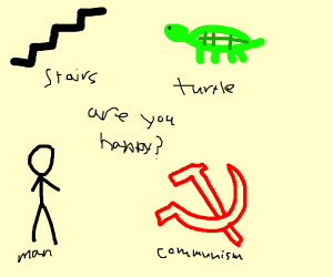 Uh some stairs, a turtle, a man and communis