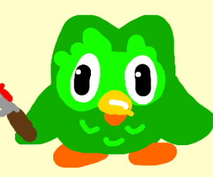 duolingo owl with a bloody knife