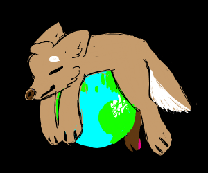 dog laying down on the planet