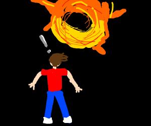 Boy realizes black hole above him