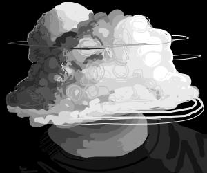 Cloud-headed man, half stormy