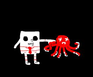 spongebob knifing octopuss lady