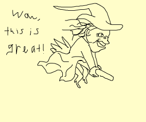 Witch flying on broom for the first time