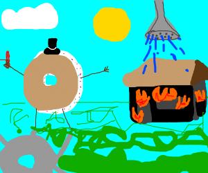 donut showering burning house