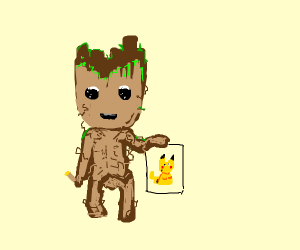groot (from gardions of the...) drawing pikac