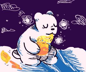 Polar Bear eating Ramen