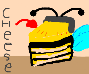 A piece of cheese with a bee costume