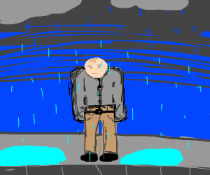A man stand in the rain and don't have a neck