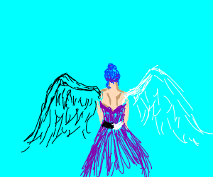 Back View of a half angel hav demon