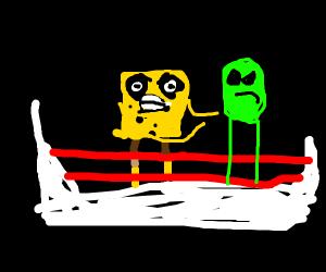 Spongebob and Alien in boxning ring