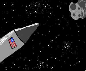 rocket moving toward meteorite