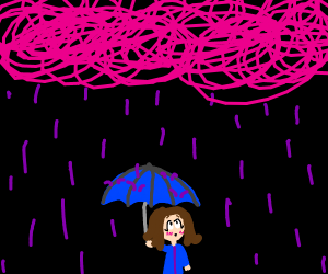 Storm of pink scribles