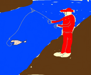 Red Clothes man is fishing