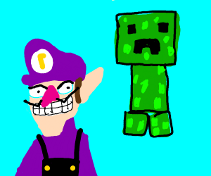 Waluigi being crept up on by a Creeper