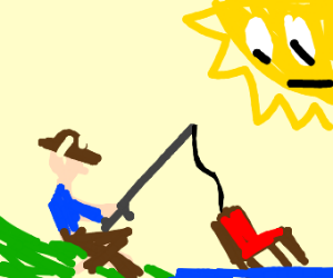 Fishing for furniture while the sun watches.