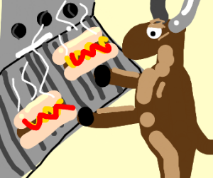 distressed bull forced to grill up a hotdog