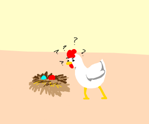 Chicken confused about Easter eggs