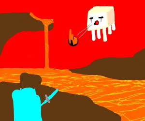 minecraft steve v ghast epic fight