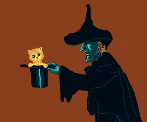 Wicked witch with a cat in a hat