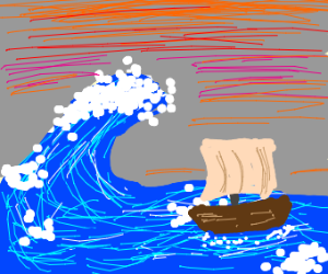 a boat sailing on rough ocean