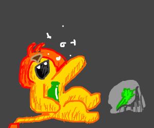 Drunk lion holding celery