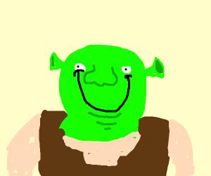 Shrek smiles so hard his lips touch his eyes