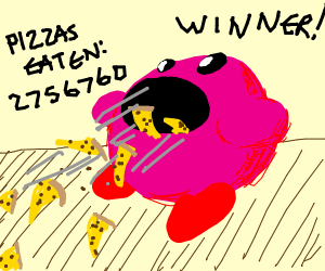 Kirby in an eating competition