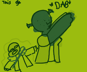 shrek dabs while sans dies