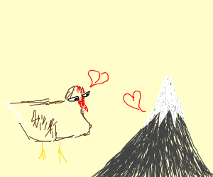 romance between a chicken and a mountain