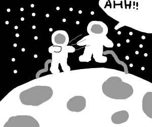 Astronaut pushes other astronaut