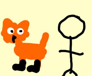 Fox shows butt to man