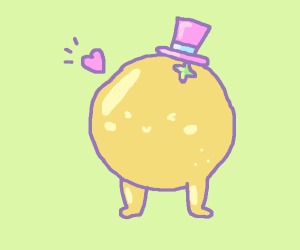 A citrus friend (with legs and a hat)